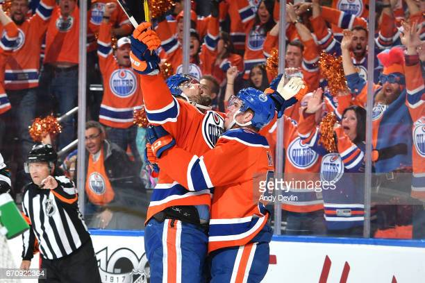 Patrick Maroon#19 and Connor McDavid of the Edmonton Oilers celebrate after a goal in Game Five of the Western Conference First Round during the 2017...