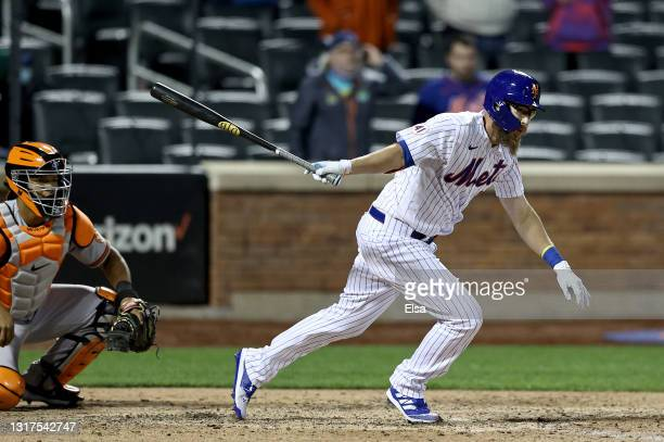 Patrick Mazeika of the New York Mets drives in the game winning run on what is ruled as a fielder's choice in the bottom of the ninth against the...