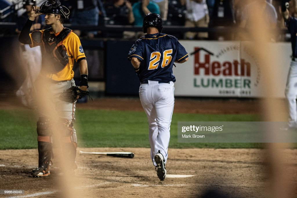 Patrick Mazeika #26 scores a run in the ninth inning to tie the game during the 2018 Eastern League All Star Game at Arm & Hammer Park on July 11, 2018 in Trenton, New Jersey.