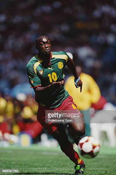 Patrick M'Boma of Cameroon pictured in action during play in the final of the Men's football tournament at the 2000 Summer Olympics in the Olympic...