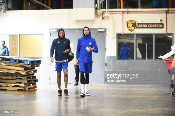 Patrick McCaw and Shaun Livingston of the Golden State Warriors arrive to the arena for a practice on May 5 2018 at Smoothie King Center in New...