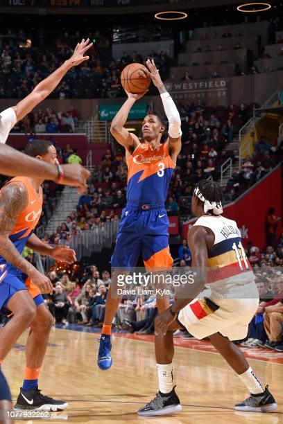 Patrick McCaw of the Cleveland Cavaliers shoots the ball against the New Orleans Pelicans on January 5 2019 at Quicken Loans Arena in Cleveland Ohio...