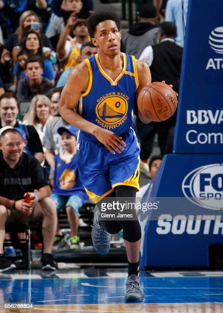 Patrick McCaw of the Golden State Warriors brings the ball up court against the Dallas Mavericks during the game on March 21 2017 at the American...
