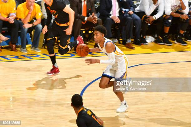 Patrick McCaw of the Golden State Warriors brings the ball up court during the game against the Cleveland Cavaliers in Game Five of the 2017 NBA...