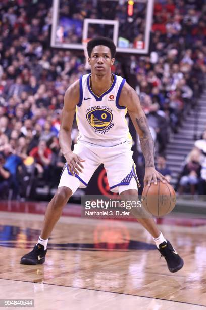 Patrick McCaw of the Golden State Warriors dribbles the ball during the game against the Toronto Raptors on January 13 2018 at the Air Canada Centre...