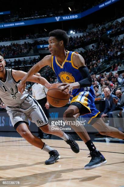 Patrick McCaw of the Golden State Warriors drives to the basket against the San Antonio Spurs on March 11 2017 at the ATT Center in San Antonio Texas...