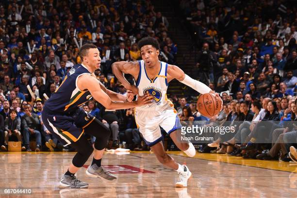 Patrick McCaw of the Golden State Warriors drives to the basket against the Utah Jazz on April 10 2017 at ORACLE Arena in Oakland California NOTE TO...