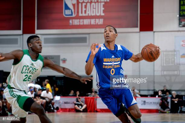 Patrick McCaw of the Golden State Warriors drives to the basket during the game against the Boston Celtics during the 2017 Las Vegas Summer League...