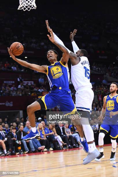 Patrick McCaw of the Golden State Warriors drives to the basket against the Minnesota Timberwolves as part of 2017 NBA Global Games China on October...