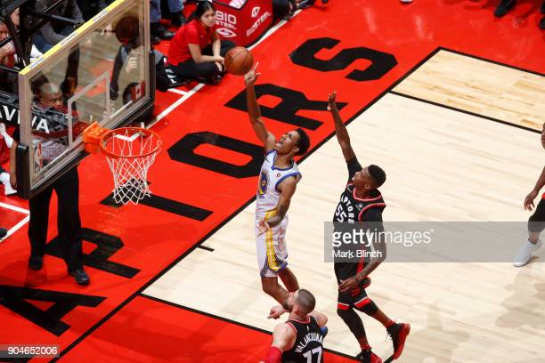 Patrick McCaw of the Golden State Warriors drives to the basket during the game against the Toronto Raptors on January 13 2018 at the Air Canada...