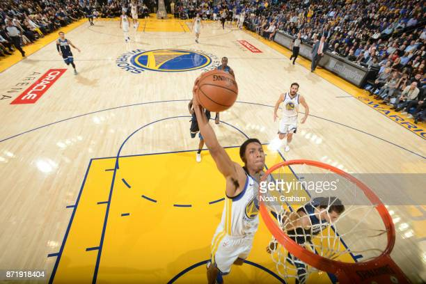 Patrick McCaw of the Golden State Warriors dunks the ball against the Minnesota Timberwolves on November 8 2017 at ORACLE Arena in Oakland California...