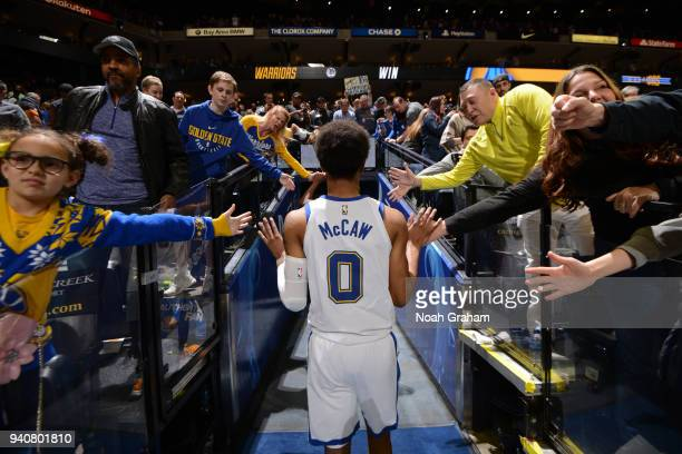 Patrick McCaw of the Golden State Warriors exits the stadium after the game against the Atlanta Hawks on March 23 2018 at ORACLE Arena in Oakland...