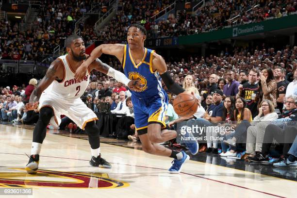 Patrick McCaw of the Golden State Warriors goes to the basket against the Cleveland Cavaliers in Game Three of the 2017 NBA Finals on June 7 2017 at...