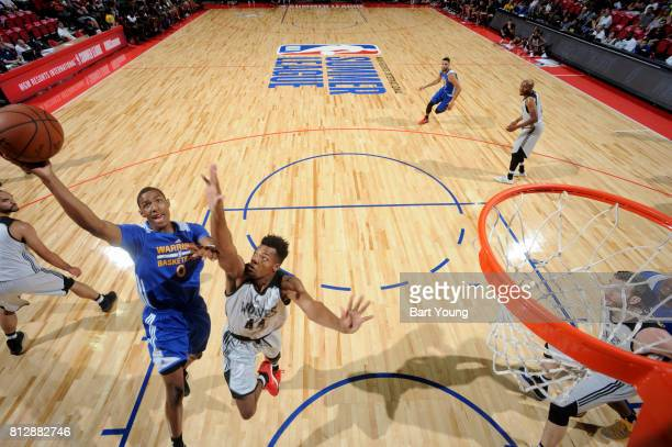 Patrick McCaw of the Golden State Warriors goes to the basket against the Minnesota Timberwolves on July 11 2017 at the Thomas Mack Center in Las...