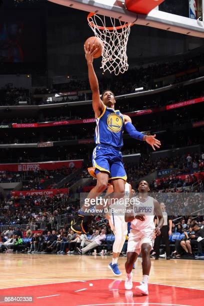 Patrick McCaw of the Golden State Warriors goes to the basket against the LA Clippers on October 30 2017 at STAPLES Center in Los Angeles California...