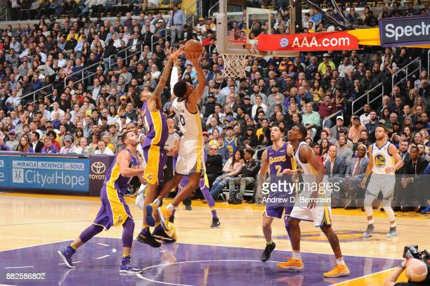 Patrick McCaw of the Golden State Warriors goes to the basket against the Los Angeles Lakers on November 29 2017 at STAPLES Center in Los Angeles...