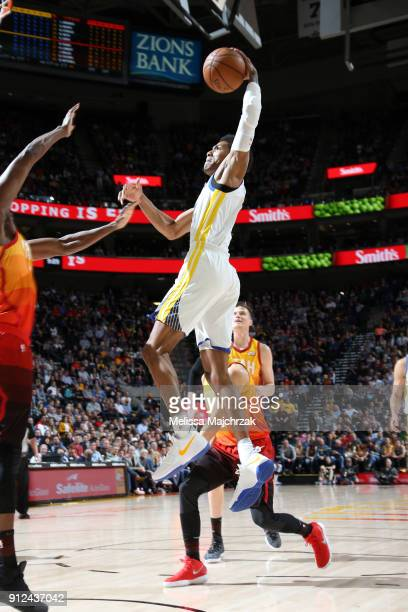 Patrick McCaw of the Golden State Warriors goes to the basket against the Utah Jazz on January 30 2018 at vivintSmartHome Arena in Salt Lake City...