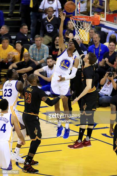 Patrick McCaw of the Golden State Warriors goes up for a basket against Kyle Korver of the Cleveland Cavaliers in Game 5 of the 2017 NBA Finals at...