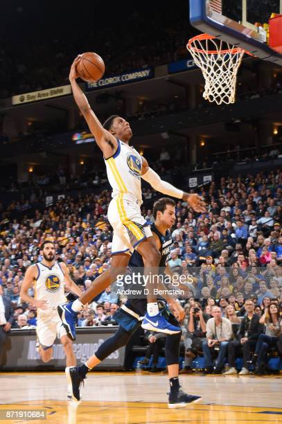 Patrick McCaw of the Golden State Warriors goes up for a dunk against the Minnesota Timberwolves on November 8 2017 at ORACLE Arena in Oakland...