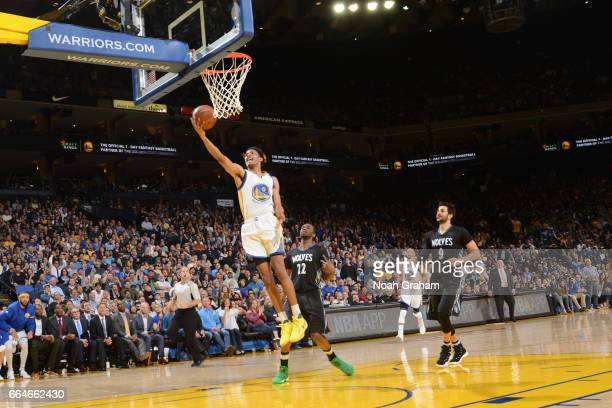 Patrick McCaw of the Golden State Warriors goes up for a lay up during a game against the Minnesota Timberwolves on April 4 2017 at ORACLE Arena in...
