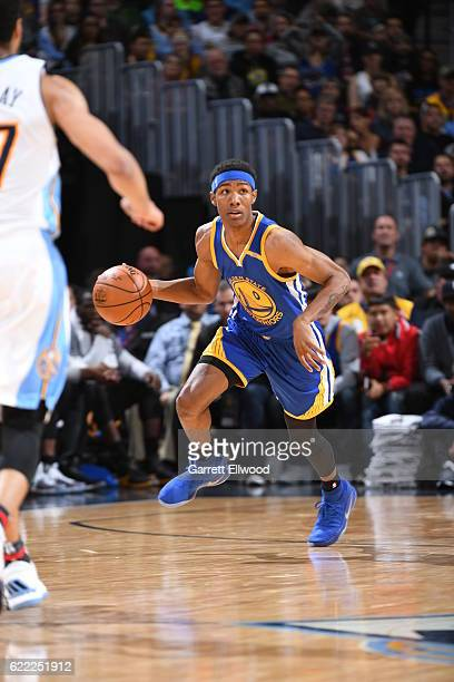 Patrick McCaw of the Golden State Warriors handles the ball against the Denver Nuggets on November 10 2016 at the Pepsi Center in Denver Colorado...