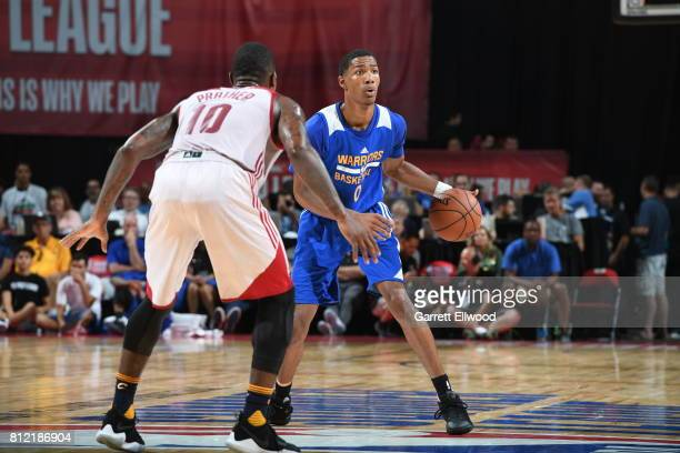 Patrick McCaw of the Golden State Warriors handles the ball against the Cleveland Cavaliers on July 10 2017 at the Thomas Mack Center in Las Vegas...