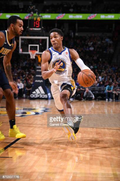 Patrick McCaw of the Golden State Warriors handles the ball against the Denver Nuggets on November 4 2017 at the Pepsi Center in Denver Colorado NOTE...