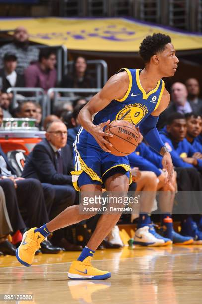Patrick McCaw of the Golden State Warriors handles the ball against the Los Angeles Lakers on December 18 2017 at STAPLES Center in Los Angeles...