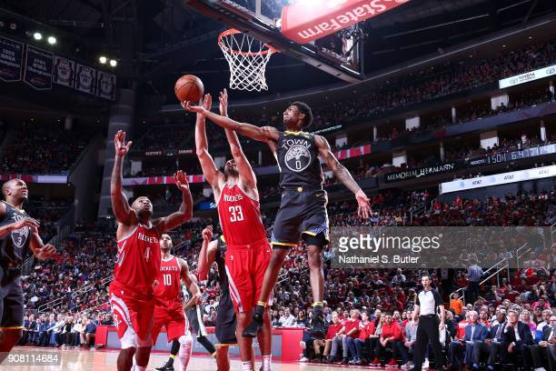Patrick McCaw of the Golden State Warriors handles the ball against the Houston Rockets on January 20 2018 at the Toyota Center in Houston Texas NOTE...