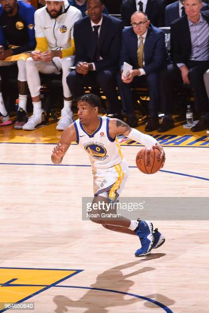 Patrick McCaw of the Golden State Warriors handles the ball against the Cleveland Cavaliers in Game One of the 2018 NBA Finals on May 31 2018 at...
