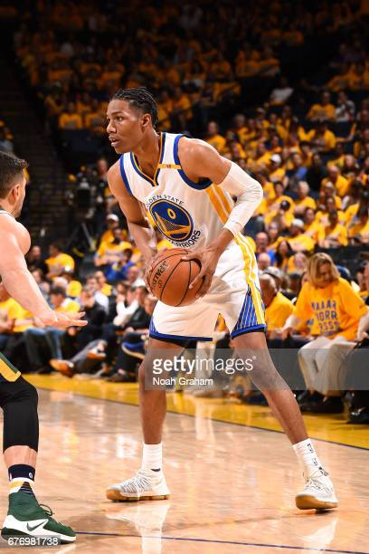 Patrick McCaw of the Golden State Warriors handles the ball during the game against the Utah Jazz during Game One of the Western Conference...