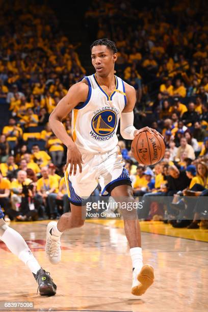 Patrick McCaw of the Golden State Warriors handles the ball during the game against the San Antonio Spurs during Game Two of the Western Conference...