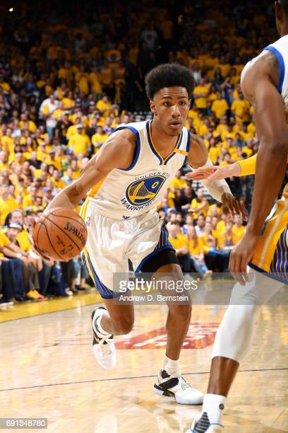 Patrick McCaw of the Golden State Warriors handles the ball during the game against the Cleveland Cavaliers during Game One of the 2017 NBA Finals at...
