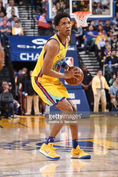 Patrick McCaw of the Golden State Warriors handles the ball during the game against the Milwaukee Bucks on March 29 2018 at ORACLE Arena in Oakland...