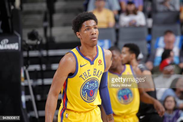 Patrick McCaw of the Golden State Warriors looks on during the game against the Sacramento Kings on March 31 2018 at Golden 1 Center in Sacramento...