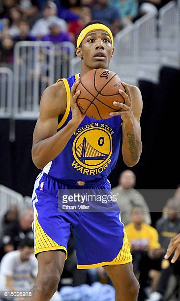 Patrick McCaw of the Golden State Warriors looks to pass against the Los Angeles Lakers during their preseason game at TMobile Arena on October 15...