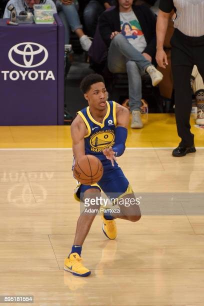 Patrick McCaw of the Golden State Warriors passes the ball against the Los Angeles Lakers on December 18 2017 at STAPLES Center in Los Angeles...