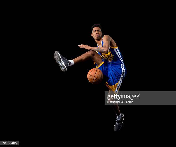 Patrick McCaw of the Golden State Warriors poses for a portrait during the 2016 NBA rookie photo shoot on August 7 2016 at the Madison Square Garden...