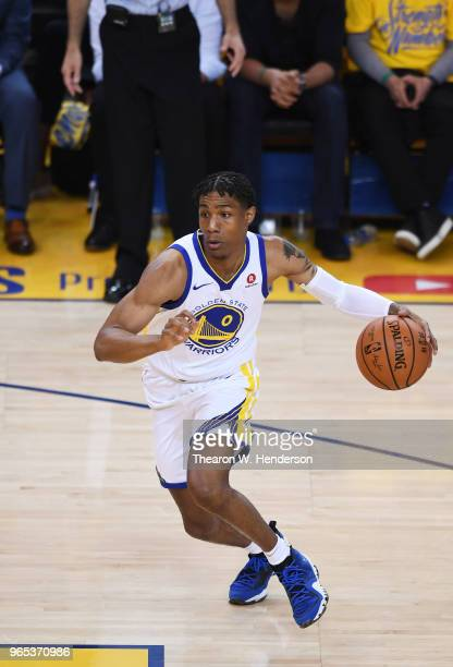 Patrick McCaw of the Golden State Warriors shoots against the Cleveland Cavaliers in Game 1 of the 2018 NBA Finals at ORACLE Arena on May 31 2018 in...