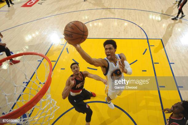 Patrick McCaw of the Golden State Warriors shoots the ball against the Portland Trail Blazers during the Western Conference Quarterfinals of the 2017...