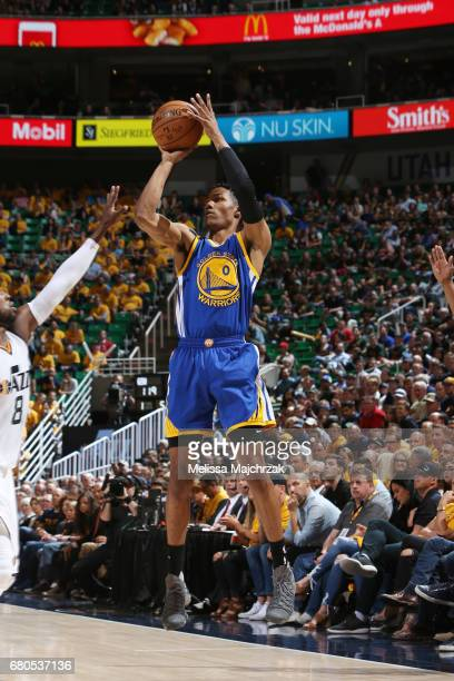 Patrick McCaw of the Golden State Warriors shoots the ball against the Utah Jazz in Game Four of the Western Conference Semifinals of the 2017 NBA...