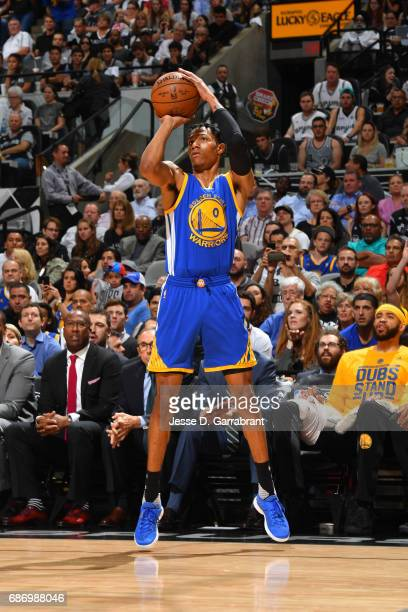 Patrick McCaw of the Golden State Warriors shoots the ball against the San Antonio Spurs during Game Four of the Western Conference Finals of the...