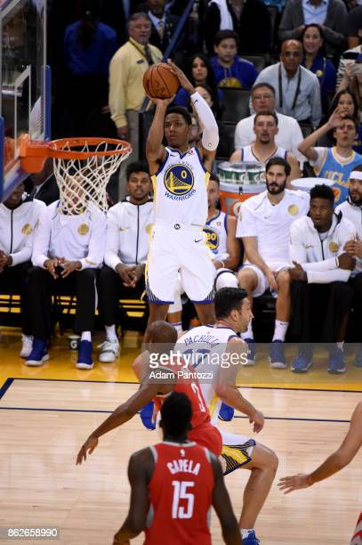 Patrick McCaw of the Golden State Warriors shoots the ball against the Houston Rockets on October 17 2017 at ORACLE Arena in Oakland California NOTE...