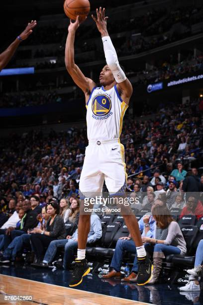 Patrick McCaw of the Golden State Warriors shoots the ball against the Denver Nuggets on November 4 2017 at the Pepsi Center in Denver Colorado NOTE...