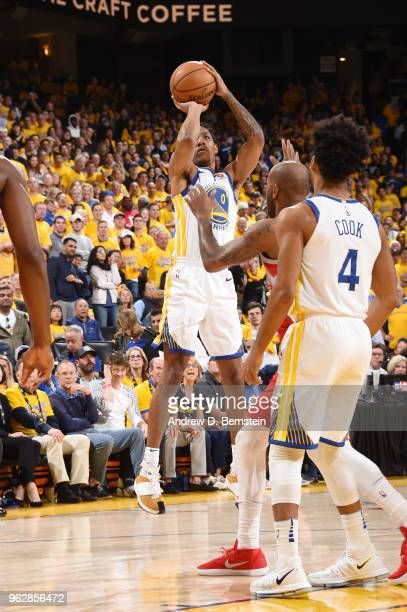 Patrick McCaw of the Golden State Warriors shoots the ball against the Houston Rockets during Game Six of the Western Conference Finals during the...