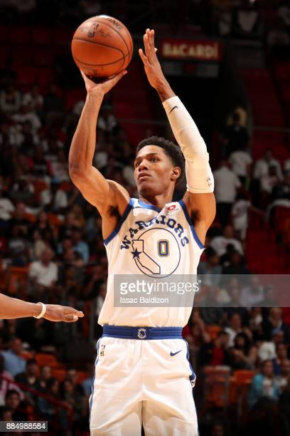Patrick McCaw of the Golden State Warriors shoots the ball during the game against the Miami Heat on December 3 2017 in Miami Florida NOTE TO USER...