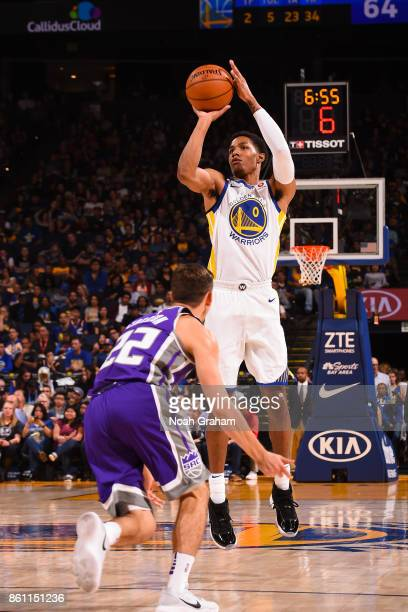 Patrick McCaw of the Golden State Warriors shoots the ball on during preseason game against the Sacramento Kings on October 13 2017 at ORACLE Arena...