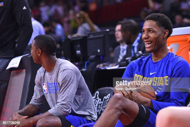 Patrick McCaw of the Golden State Warriors smiles and looks on before the game against the Minnesota Timberwolves as part of 2017 NBA Global Games...