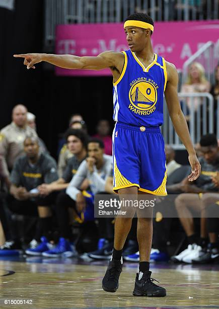Patrick McCaw of the Golden State Warriors stands on the court during a preseason game against the Los Angeles Lakers at TMobile Arena on October 15...