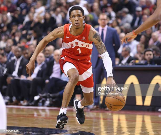 Patrick McCaw of the Toronto Raptors brings the ball up court against the Chicago Bulls during an NBA game at Scotiabank Arena on March 26 2019 in...